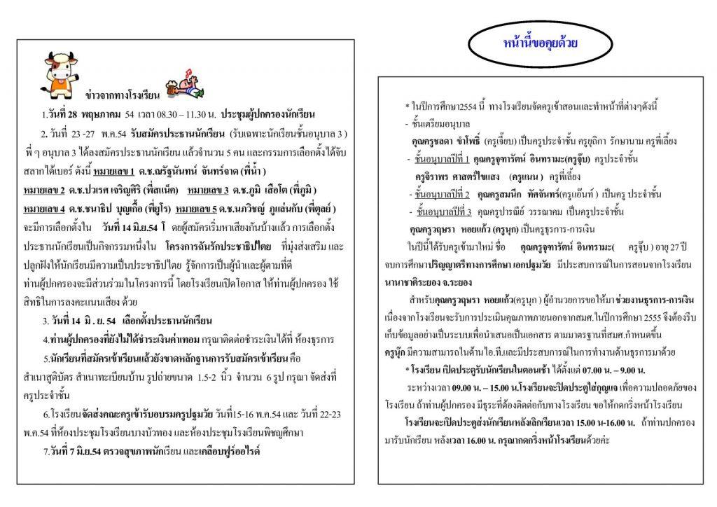 สารสัมพันธ์ระพีพรรณ ฉบับบที่ 1 ปีการศึกษา 2554